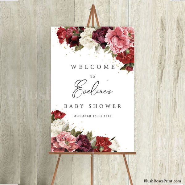 diy-girl--baby-shower-welcome-sign-ideas-with-blush-burgundy-and-mauve-peonies
