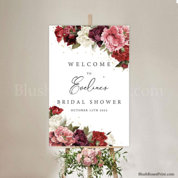 dusty-pink-blush-burgundy-maroon-peonies-diy-welcome-sign-vertical-welcome-sign
