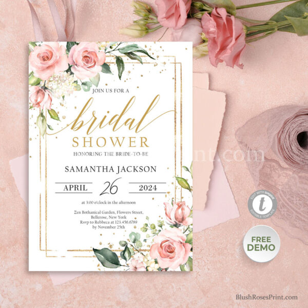dusty-pink-rose-faux-gold-geometric-frame-bridal-shower-invitaion-printed