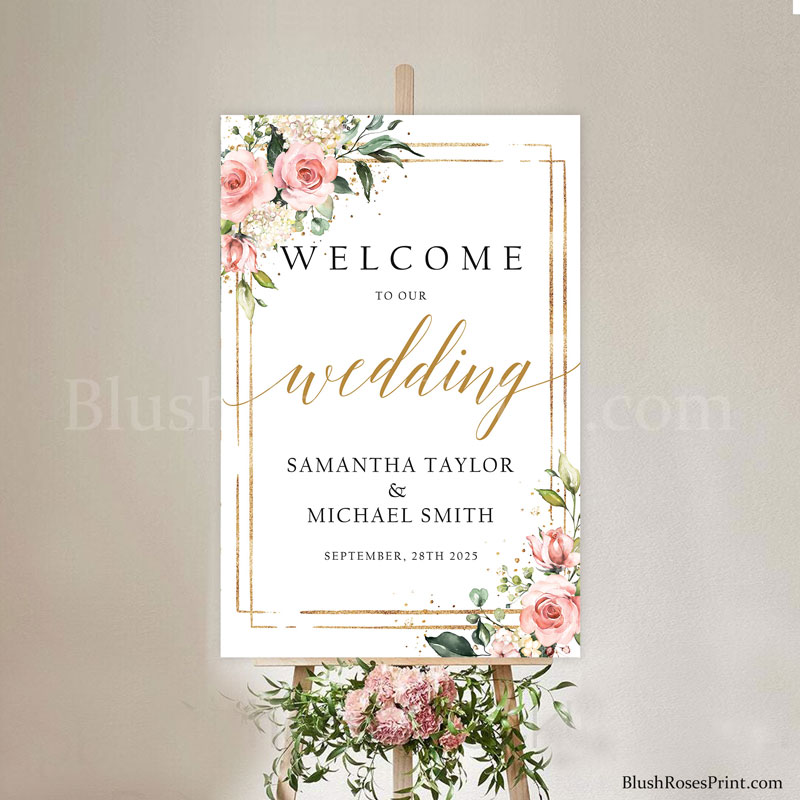 dusty-pink-roses-flowers-faux-gold-geometric-welcome-sign-poster