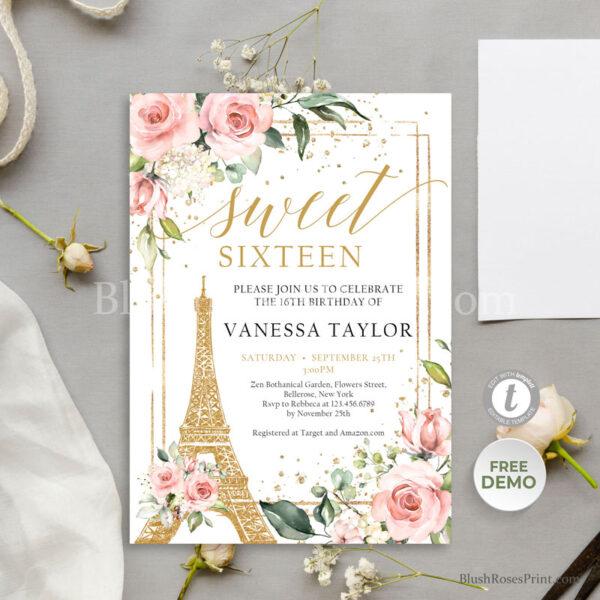 edit-online-sweet-sixteen-invitation-printed
