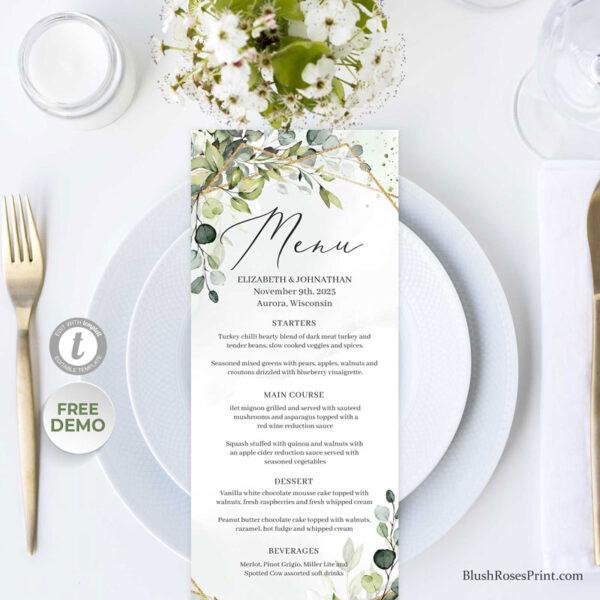 greenery-foliage-gold-geometric-frame-wedding-menu-template-editable
