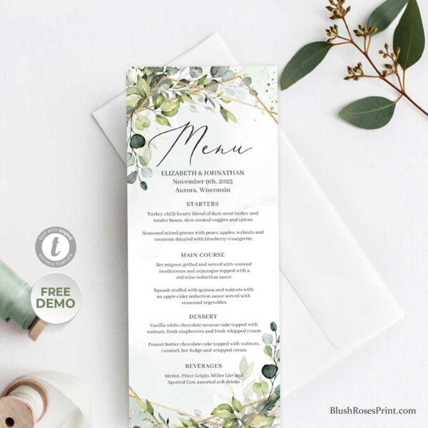 greenery-foliage-gold-geometric-frame-wedding-menu-template-editable-ds
