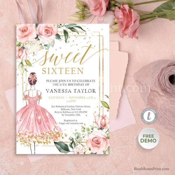 pink-and-gold-glitter-frame-princess-sweet-sixteen-invitation-template