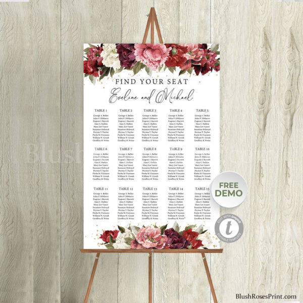 rustic-burgundy-and-blush-pink-and-mauve-flowers-roses-peonies-wedding-find-your-seat-sign