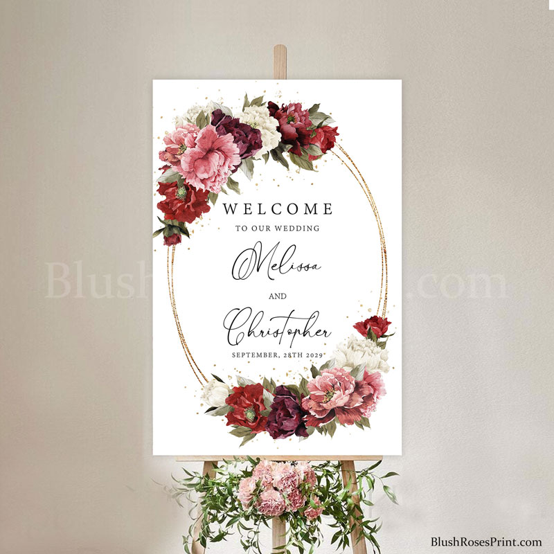 rustic-wedding-welcome-sign-with-blush-burgundy-and-mauve-flowers-peonies-printable-welcome-poster