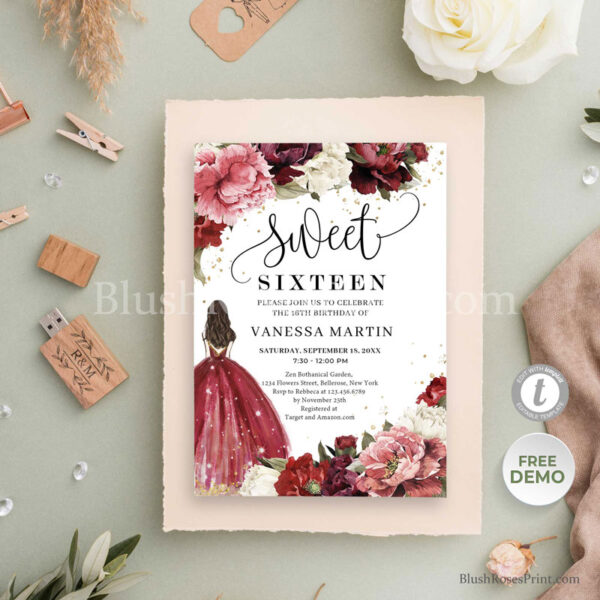 sweet-sixteen-invitations-ideas-with-princess-with-red-dress-and-blush-burgundy-gold