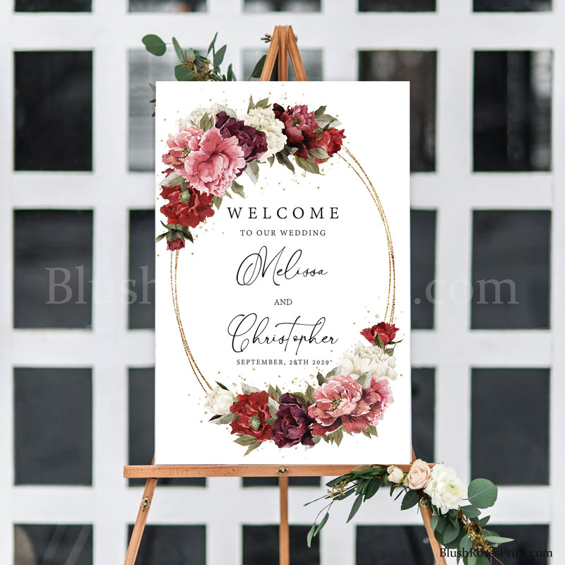 trendy-boho-wedding-welcome-sign-ideas-with-blush-pink-flowers-and-burgundy-roses-and-maroon-flowers