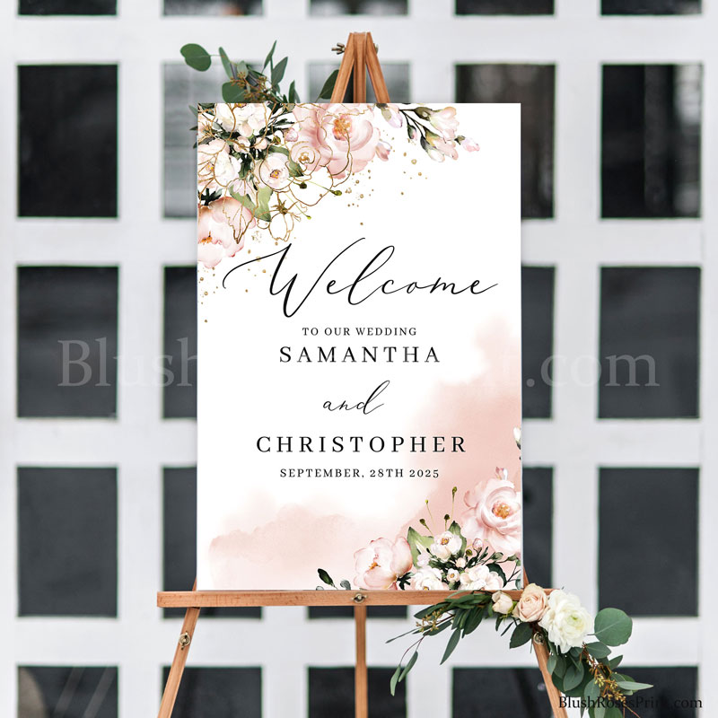 trendy-modern-wedding-welcome-sign-printable-with-blush-pink-flowers-and-dusty-pink-roses