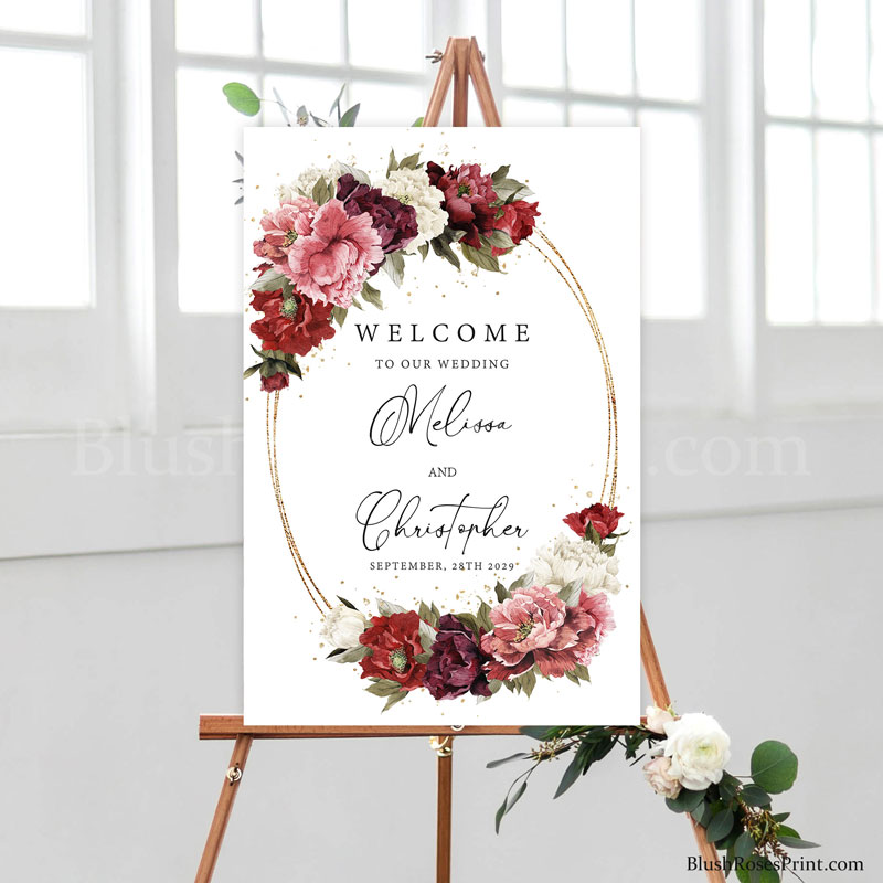 wedding-welcome-sign-diy-with-deep-red-marsala-roses-flowers-and-burgundy-peonies